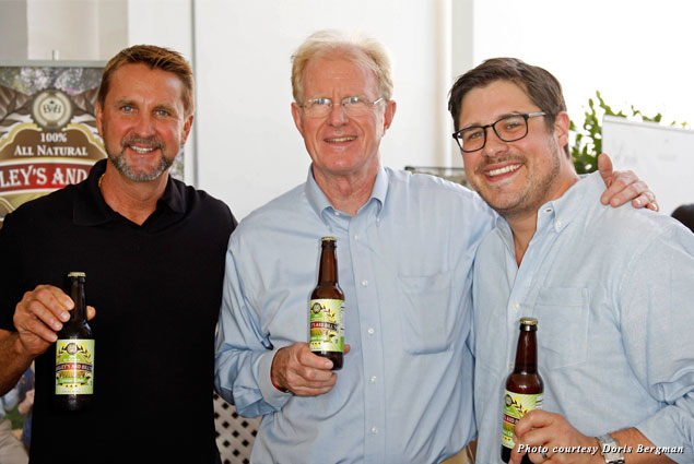 Bill Sabo, Ed Begley Jr., and Rich Sommer enjoy their natural sodas at the Bergman Emmy Style Lounge