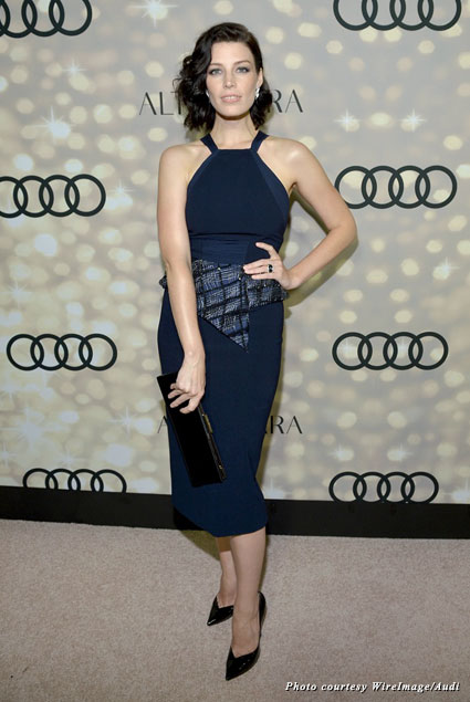 Jessica Paré prettied things up at the Audi party, wearing a sleek Bibhu Mohapatra cocktail dress to the fete
