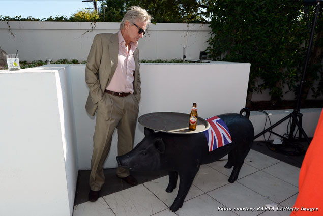Michael Douglas communes with a very British pig at 2013 BAFTA LA TV Tea