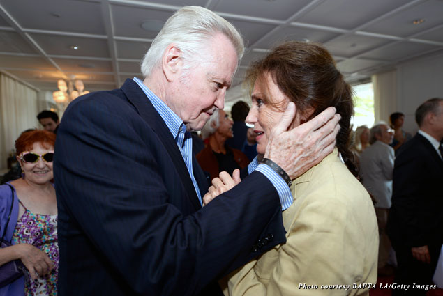 Jon Voight and Jacqueline Bisset share a private moment at the 2013 BAFTA LA TV Tea