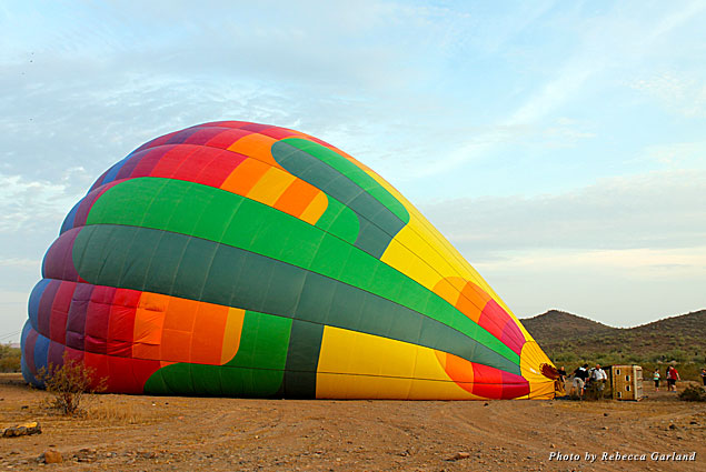 Hot Air Expeditions' crew inflating the balloon