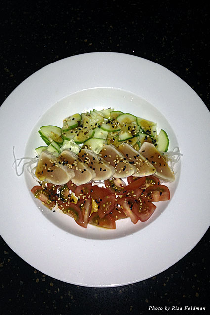 Albacore tataki with cucumber and tomato salad at Kenichi
