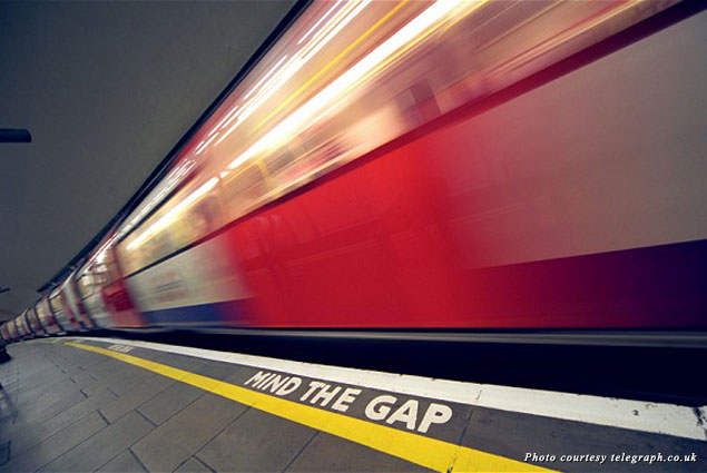 """""""Mind the Gap"""" in the London tube"""