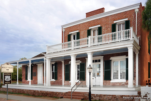 The exterior of the Whaley House in San Diego