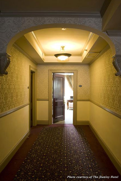 A hallway in the Stanley Hotel