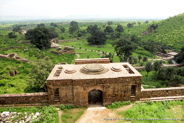 View of Bhangarh area from the Bhangarh Fort roof