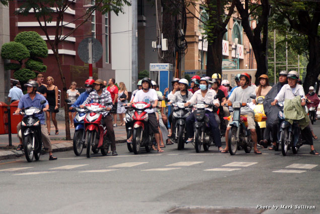 A group of motorcycle riders in Saigon