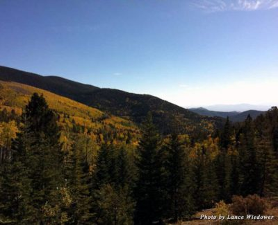 Santa Fe, New Mexico, sits below the beautiful Aspens of the Sangre de Cristo Mountains