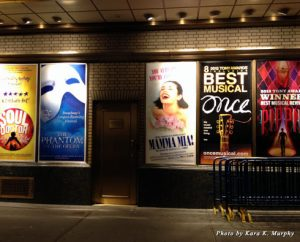 Broadway show posters on Shubert Alley