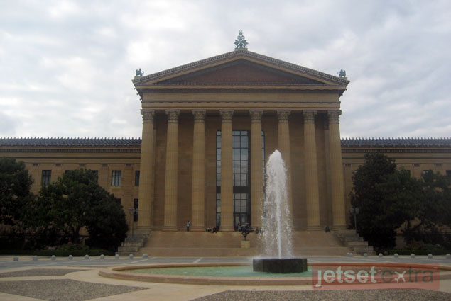 "The entrance of the Philadelphia Museum of Art, reached by the famous ""Rocky Steps"""