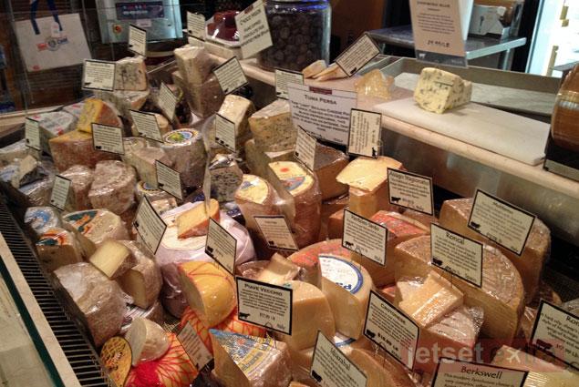A cheese display at DiBruno Brothers