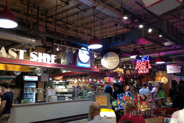A selection of food options inside Reading Terminal Market