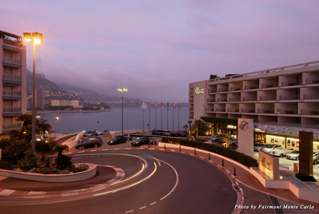 Exterior of the Fairmont and the Monaco Grand Prix circuit