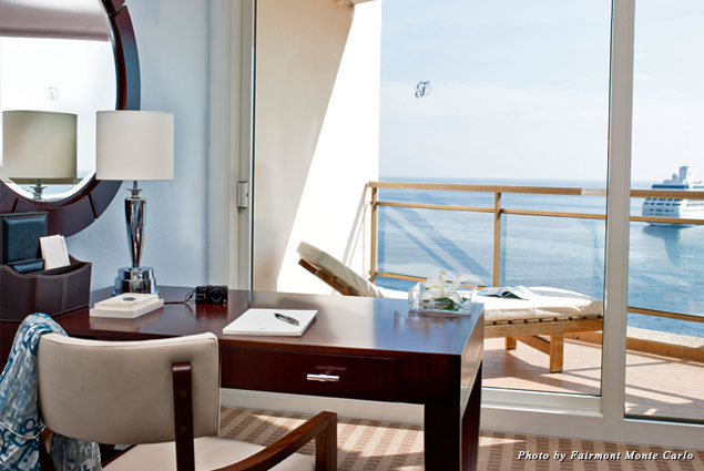 View of Mediterranean Sea from guest room at Fairmont Monte Carlo