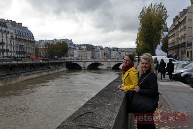 Lauren and Ashley at the Seine River on our way to lunch in Paris from Notre Dame