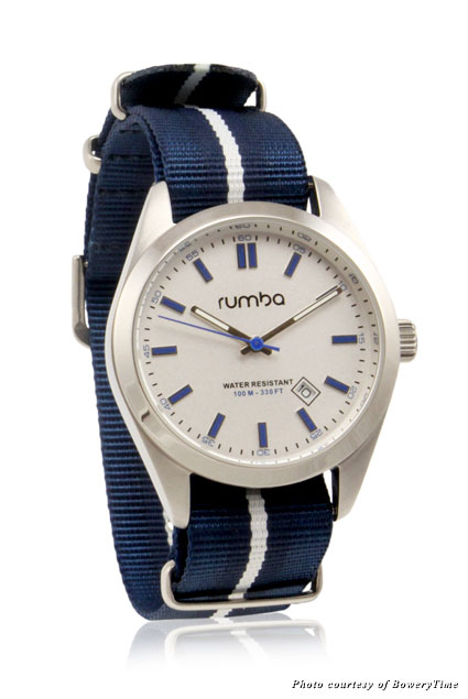 A men's watch from RumbaTime's Bowery Nylon collection