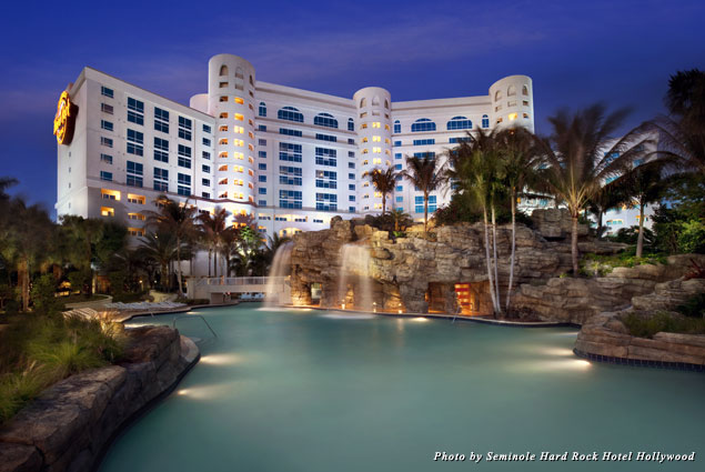 The exterior of the Seminole Hard Rock Hotel Hollywood