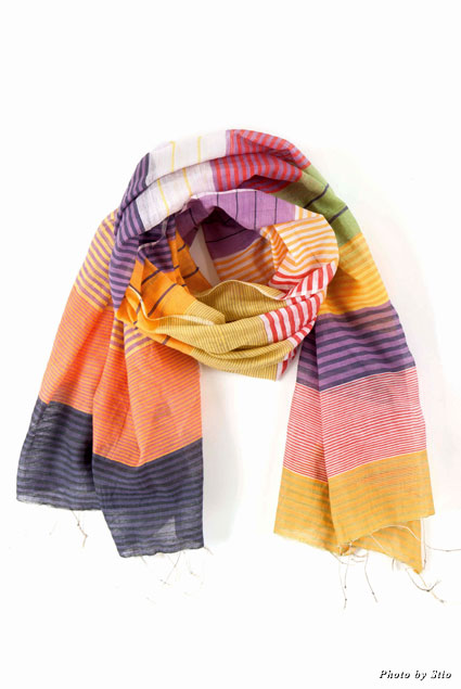 Cotton and silk striped scarf from Wayfair.com