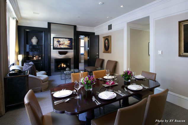 Dine inside XV Beacon's Parlor Suites