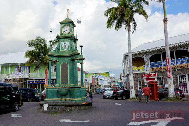 The Circus Clock in downtown Basseterre