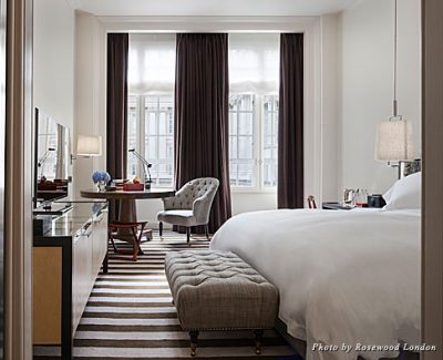 A guestroom at the Rosewood London