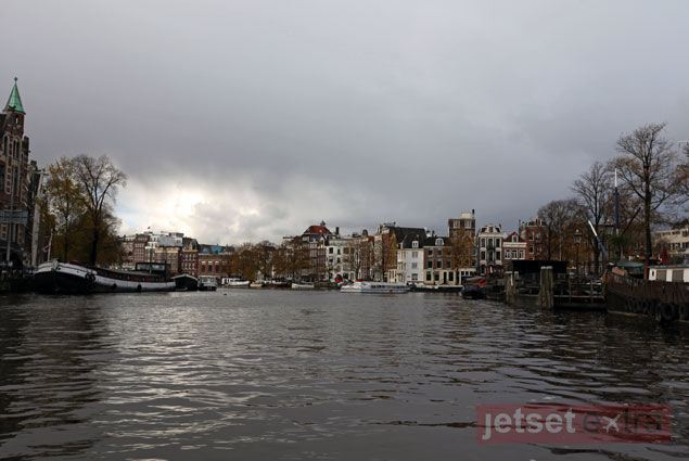 Amsterdam on a cloudy day on the canal