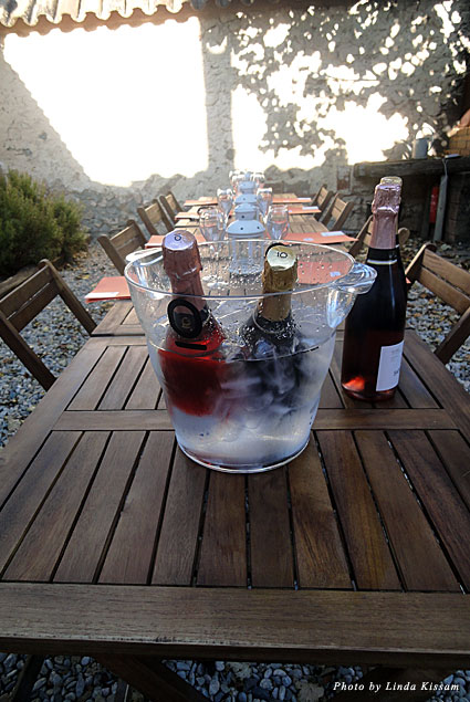 Chilled cava wines out on a patio
