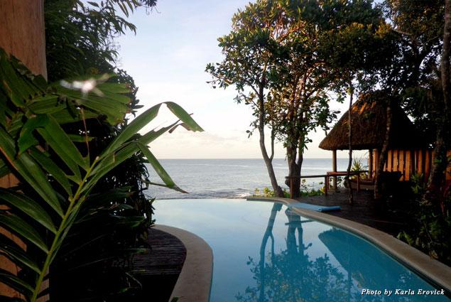The infinity pool overlooks the Koro Sea