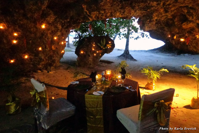 Dining in an ocean-side grotto