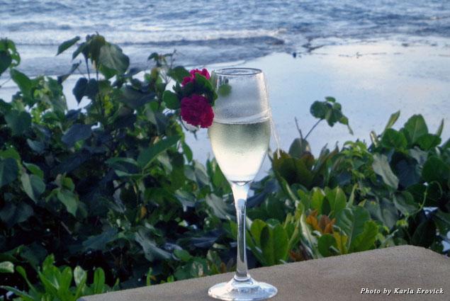 Enjoying a glass of champagne