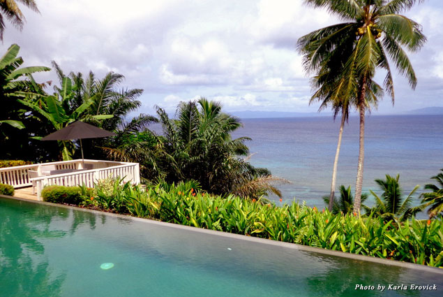 Looking out on the water from the infinity pool