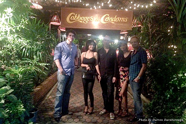 With friends outside a bizarre but fun restaurant called Cabbages & Condoms