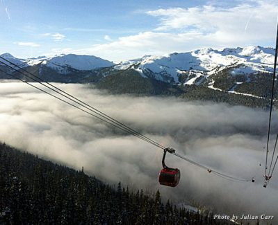 Lots of beautiful views and here's one of them: Peak 2 Peak tram looking at Blackcomb mountain from Whistler