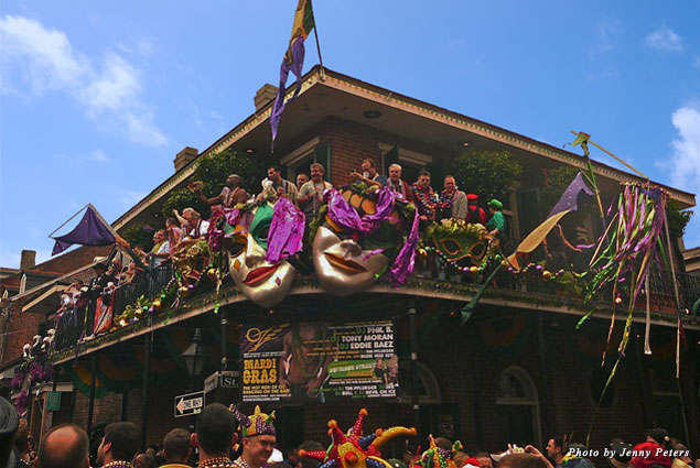 Celebrating Mardi Gras Day in New Orleans' French Quarter, 2013