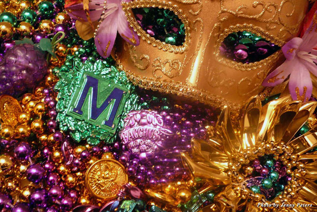 A collection of parade throws from Mardi Gras in New Orleans