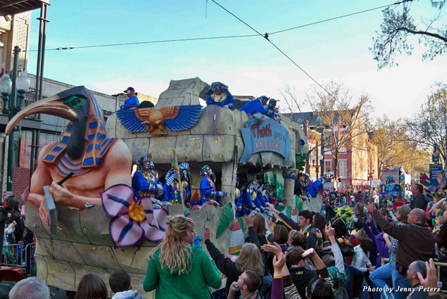 The Krewe of Thoth rolls during daylight hours on the Sunday before Mardi Gras Day