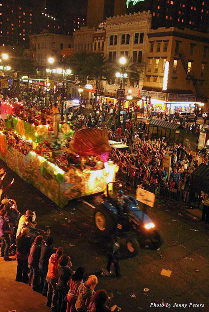 The scene you'll see of the nightly parades from the Sheraton New Orleans Hotel's viewing stands