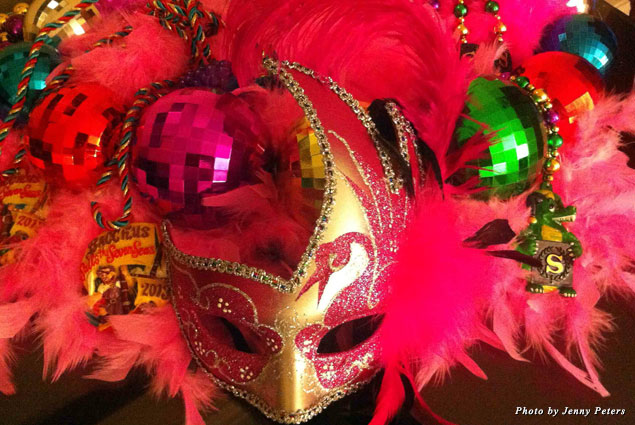 Big beads, boas, and masks equals a great day during Mardi Gras in New Orleans