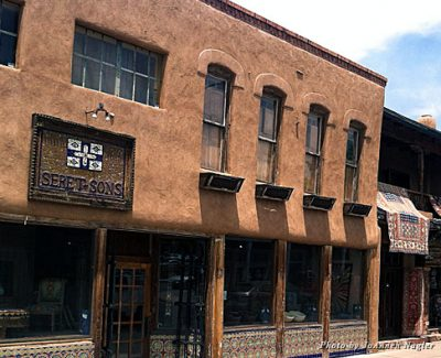 Artisan shops along a street in Santa Fe