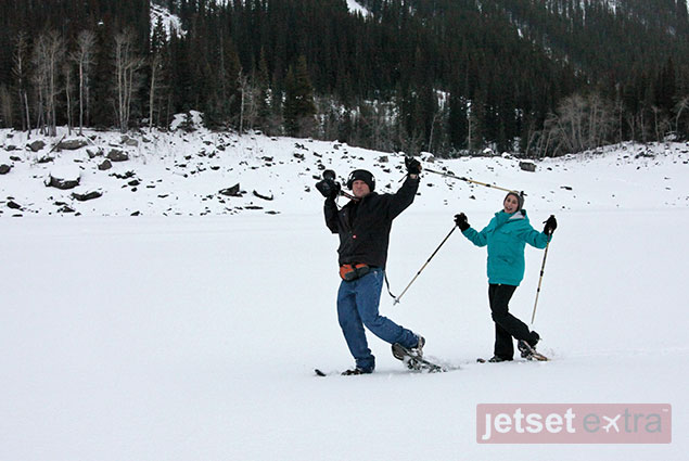 Jason and Emma having fun snowshoeing through Medicine Lake with Walks and Talks Jasper