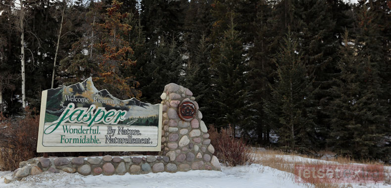 The welcome sign for Jasper in Alberta, Canada