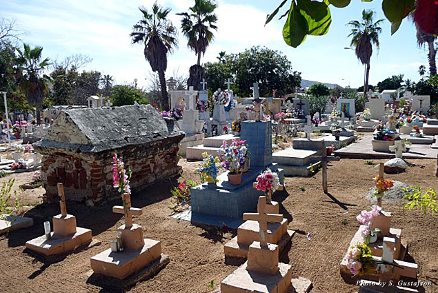 The panoramic look at the flowers and the variety of tombstones and grave markers immediately tell you that this is a cemetery for all peoples
