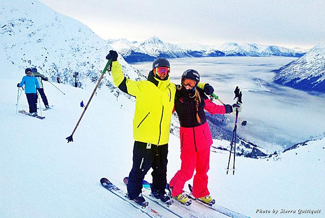 Enjoying the skiing at Alyeska