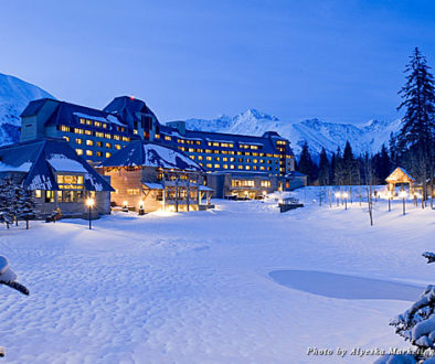 Alyeska Resort at night during winter