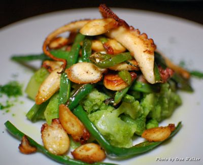 Polpo arrosto, parsley pesto-coated potatoes with haricot vert and fresh octopus