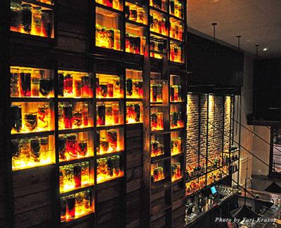 A wall of pickle jars at Verbena