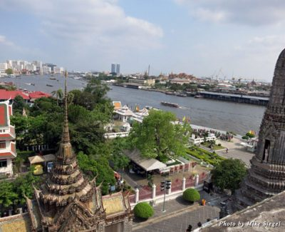 Taken from Wat Arun (Temple of Dawn), with a view of the Grand Palace in the distance across the river