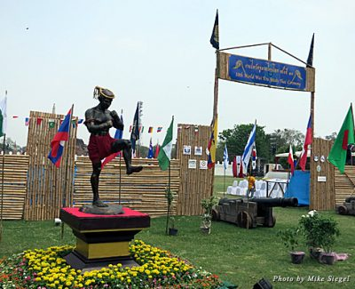 Entrance to the ceremony grounds of the Wai Kru Ceremony in Ayutthaya, with a statue of Muay Thai legend Nai Khanom Tom