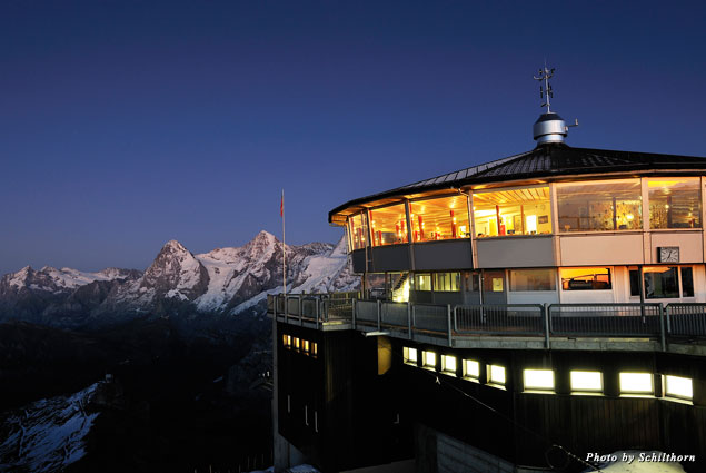 The restaurant Piz Gloria sits atop Schilthorn mountain in the Swiss Alps