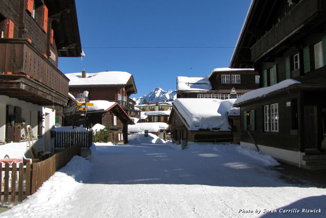 Snow-capped roofs in the little town of Mürren